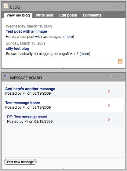 The Blog and Message Board widgets in PageFlakes